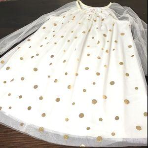 Cat & Jack Gold polka dots girls dress sz 7/8